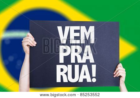 Come to Street (in Portuguese) card with brazil flag