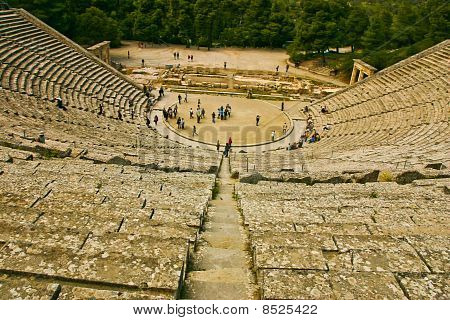 ancient theatre with tourists
