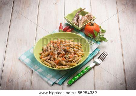 pasta with tuna anchovies tomato and hot chili pepper