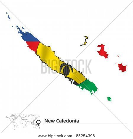 Map of New Caledonia with flag - vector illustration