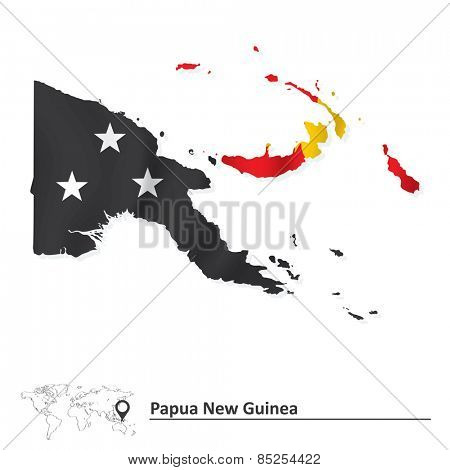 Map of Papua New Guinea with flag - vector illustration