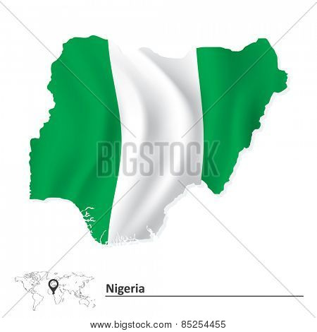 Map of Nigeria with flag - vector illustration