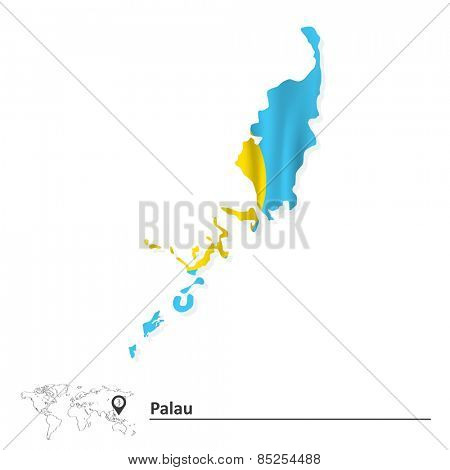 Map of Palau with flag - vector illustration