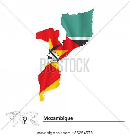 Map of Mozambique with flag - vector illustration