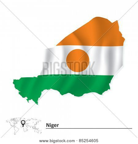 Map of Niger with flag - vector illustration