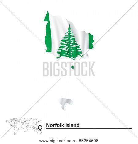 Map of Norfolk Island with flag - vector illustration