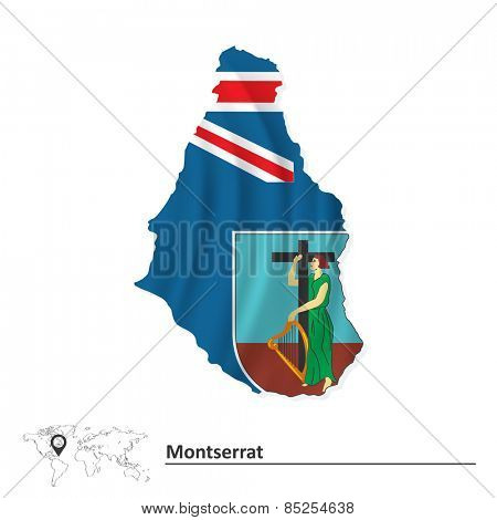 Map of Montserrat with flag - vector illustration