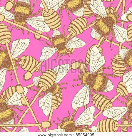 Sketch Honey Stick And Bee In Vintage Style