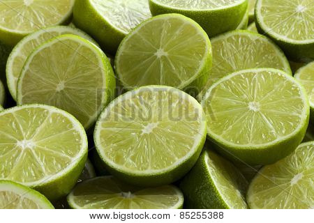 Fresh cut green limes