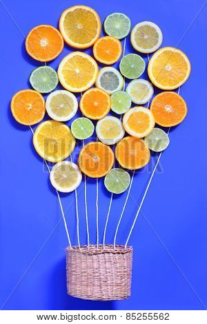 Abstract Citrus fruits and basket