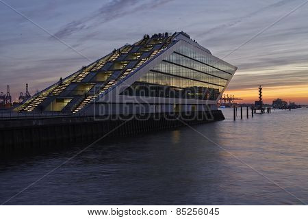 Hamburg (germany) - Cruise Terminal At Sunset
