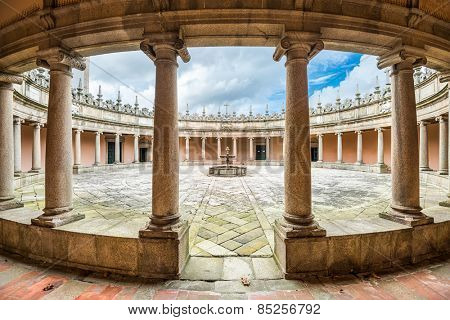 VILA NOVA DE GAIA, PORTUGAL - OCTOBER 16, 2014: Serra do Pilar Monastery cloister. The rare circular cloister is an UNESCO World Heritage Site dating from the 16th century.