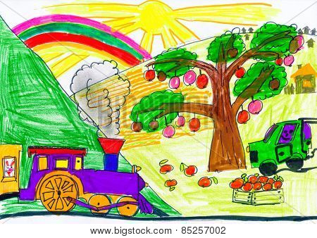 steam train and car on countryside. child drawing.