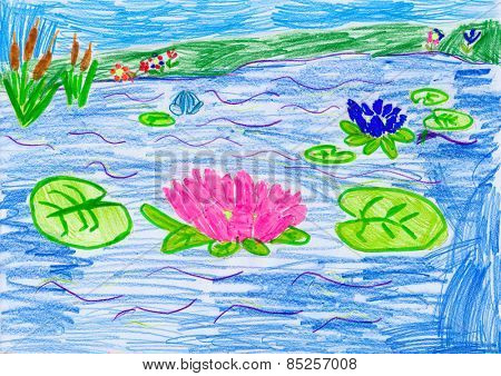 flowers on water. child drawing.