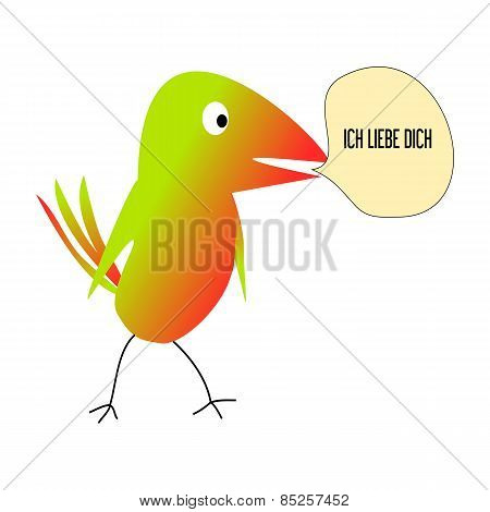 Colourful Bird On A White Background Ich Liebe Dich Love You-vector Illustration
