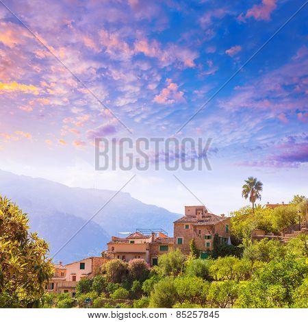 Fornalutx village aerial skyline in Majorca Balearic island Mallorca spain