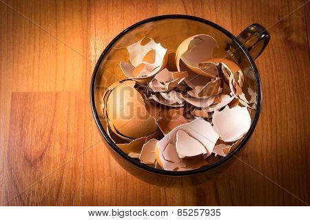 Cup Full Of Broken Egg Shells