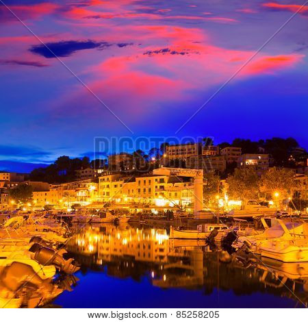Port de Soller sunset in Majorca at Balearic island of Mallorca Spain