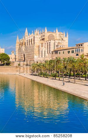 Majorca Palma Cathedral Seu Seo of Mallorca at Balearic Islands Spain