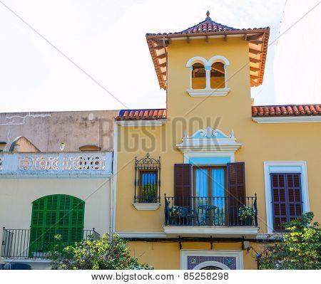 Majorca Porto Cristo mediterranean facades in Manacor of Mallorca Balearic island