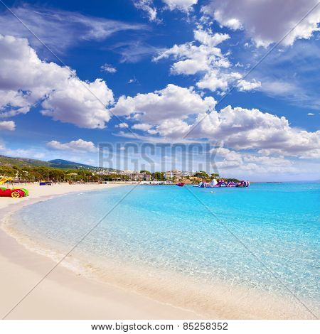 Majorca Platja Palmanova Portonovo beach in Calvia Mallorca at Balearic islands of Spain