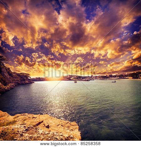 Majorca Porto Cristo beach in Manacor of Mallorca Balearic island at spain filtered image