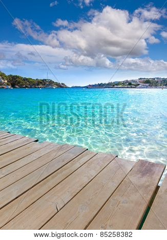 Majorca Porto Cristo beach in Manacor of Mallorca Balearic island deck photo mount