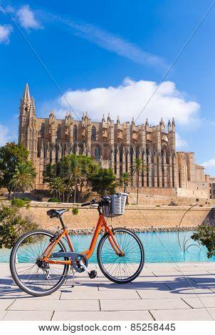 Majorca Palma Cathedral Seu and bicycle of Mallorca at Balearic Islands Spain