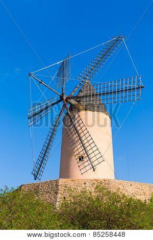 Mallorca Moli de Calvia wind mill in Majorca Balearic islands of Spain