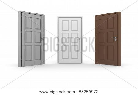 Brown, white, gray 3d door locks and doorhandles