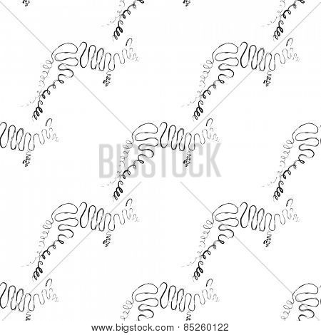 Kangaroo seamless pattern in black and white color Vector illustration