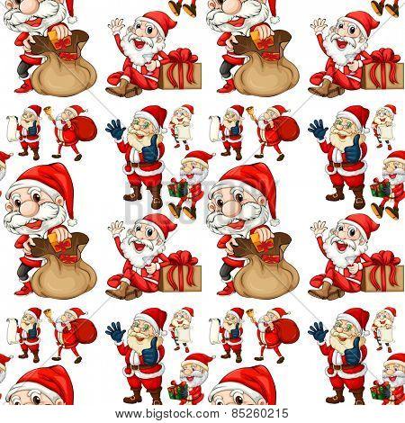 Seamless Santa with christmas presents