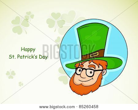 Happy St. Patrick's Day celebration sticker, tag or label design with happy leprechaun on clover leaves decorated background.