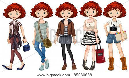 Girl hipster wearing different costumes