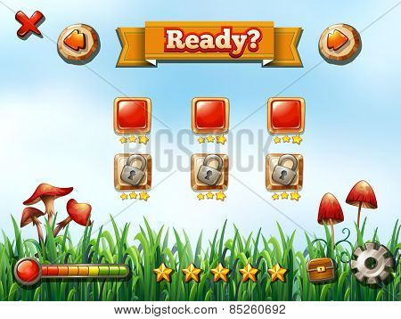 Computer game template with nature background