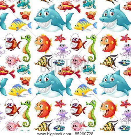 Seamless many kinds of sea animals