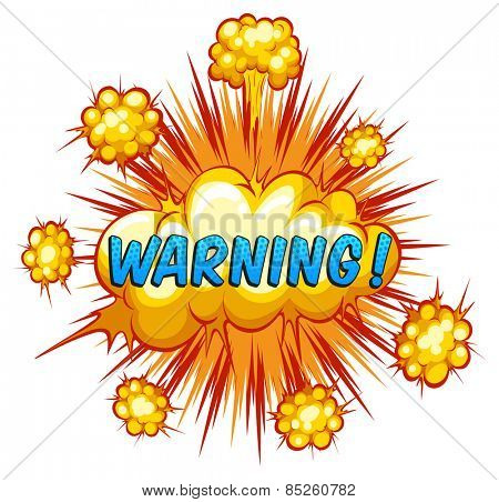 Word warning with cloud explosion background