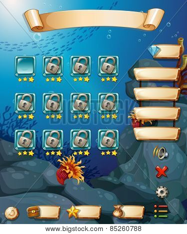 Computer game template with underwater scene