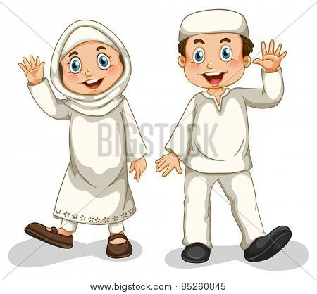 Boy and girl muslims smiling
