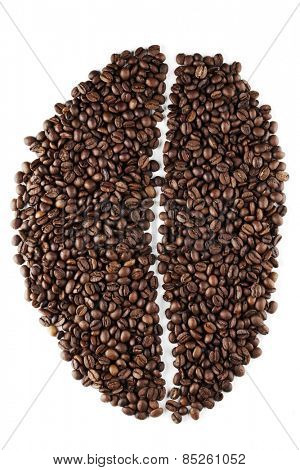 Big coffee bean shape made of coffee beans isolated on white background