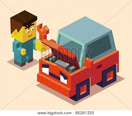 repairman and broken down car. vector illustration