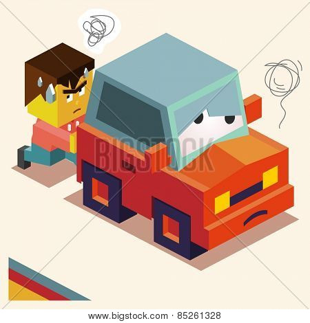Pushing a broken down car. vector