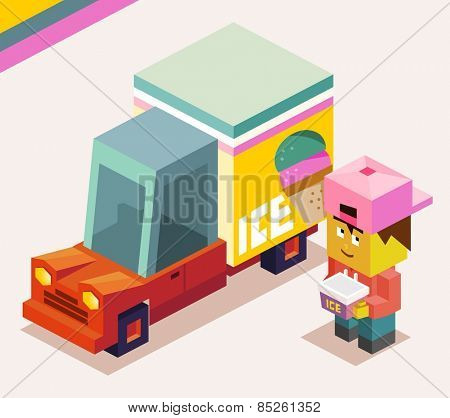 ice cream truck is cold. vector illustration