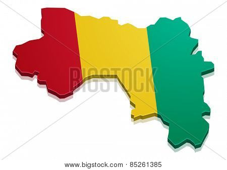 detailed illustration of a map of Guinea with flag, eps10 vector