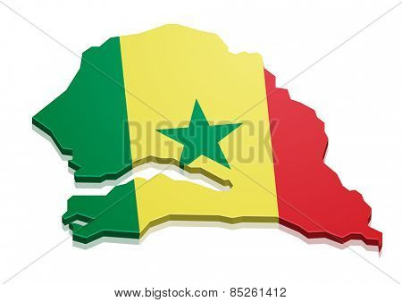 detailed illustration of a map of Senegal with flag, eps10 vector