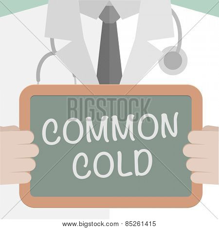 minimalistic illustration of a doctor holding a blackboard with Common Cold text, eps10 vector