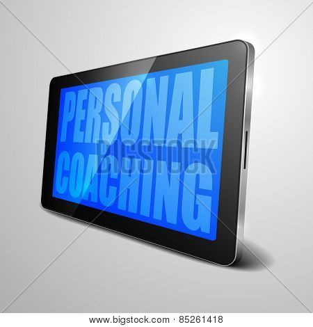 detailed illustration of a tablet computer device with Personal Coaching text, eps10 vector