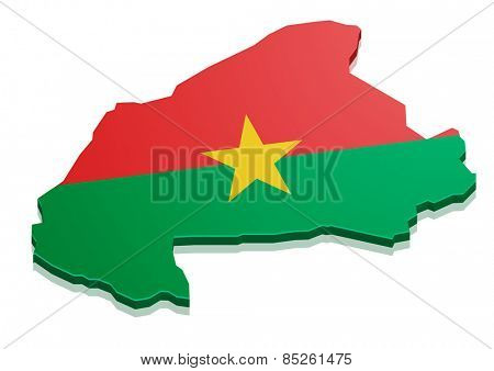 detailed illustration of a map of Burkina Faso with flag, eps10 vector