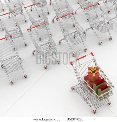many shopping carts. 3d render.