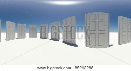 Spherical panorama of white doors. Blue sky as background